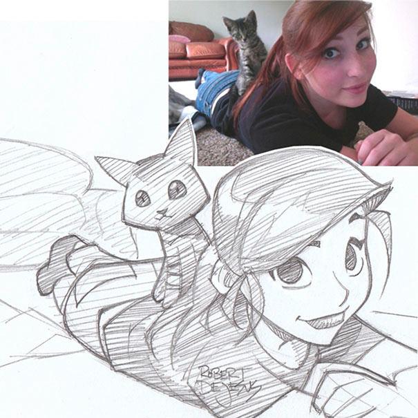 Illustrator convierte fotos de desconocidos en bosquejos inspirado en el anime