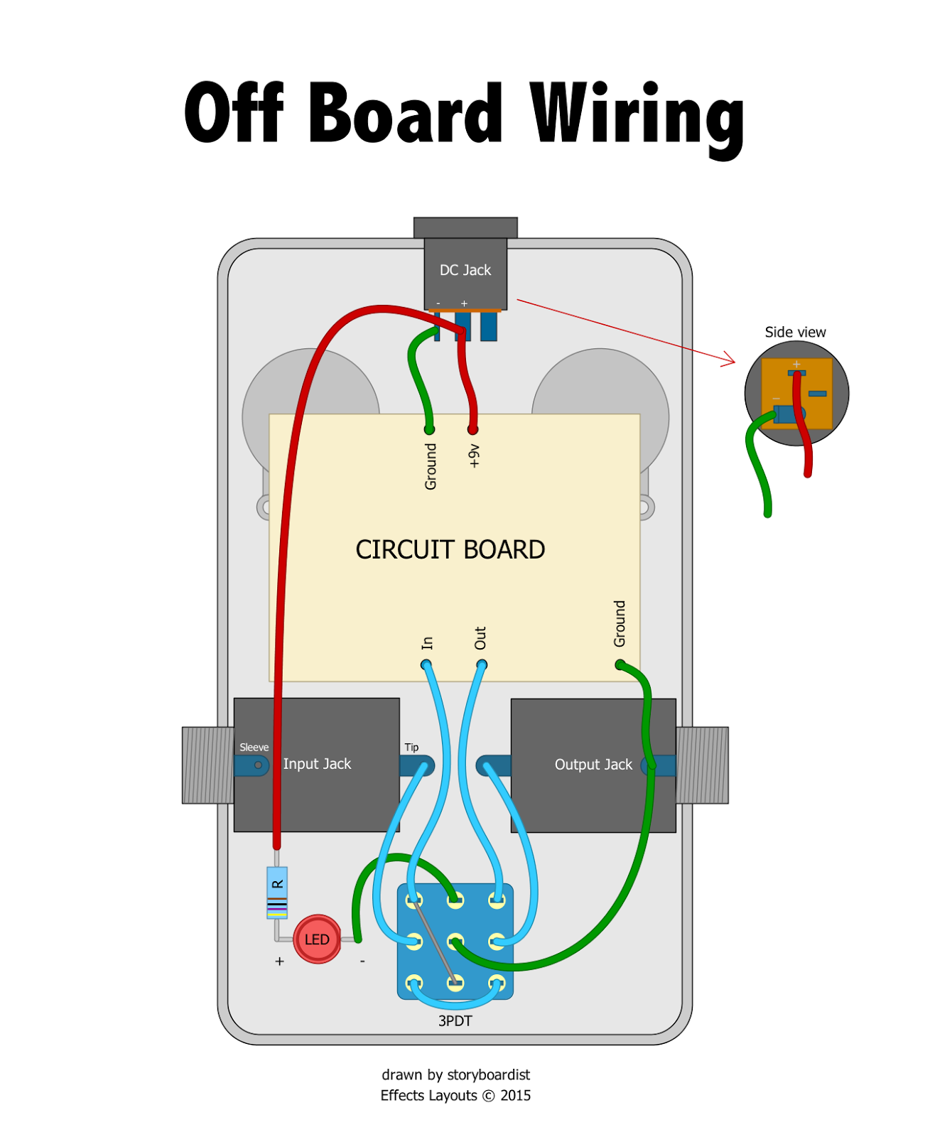 3pdt off board wiring application wiring diagram u2022 rh cleanairclub co Guitar Pedal Jack Wiring DIY Stompboxes Guitar Pedal Wiring