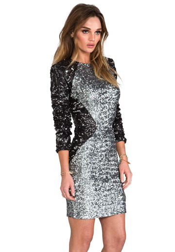 long sleeved silver and black bodycon