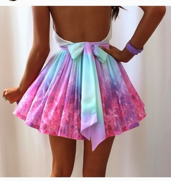 Rainbow color neon skirt with wrist watch