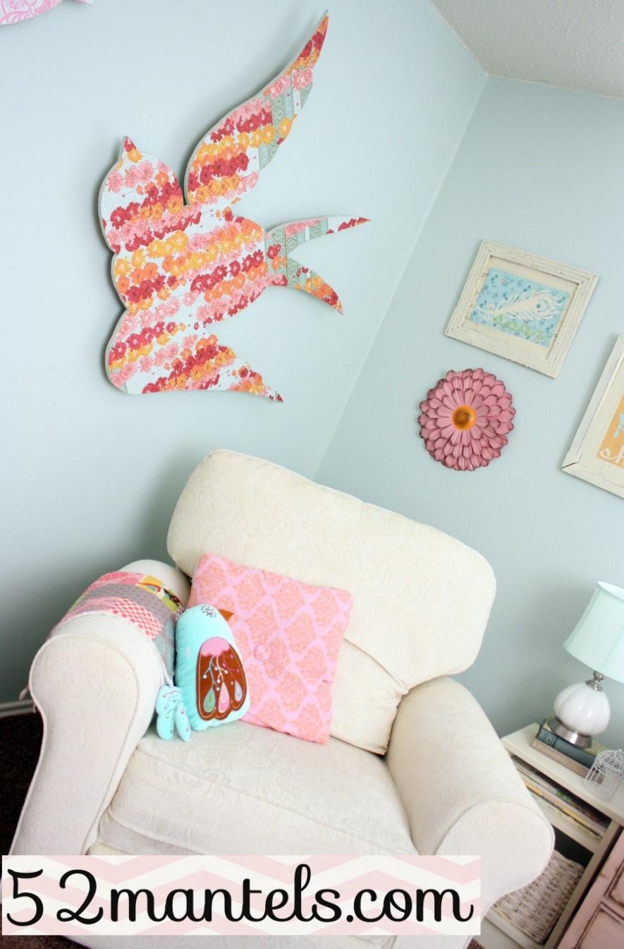 52 Mantels A Peek Inside An Aqua Pink Bird Themed Nursery