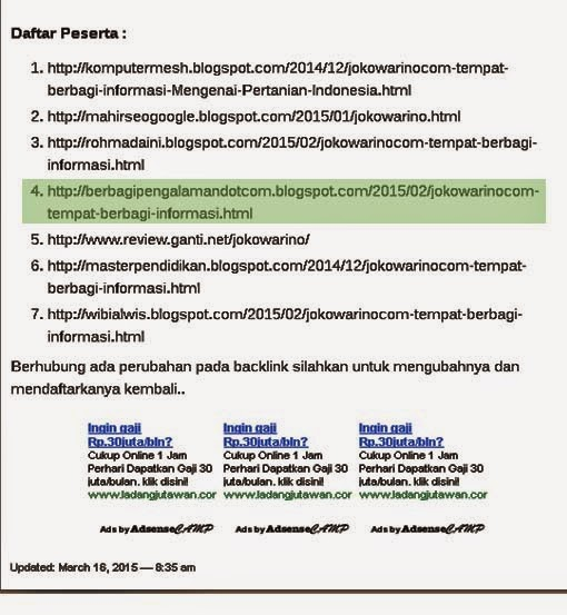 Daftar Peserta Sementara Kontes Seo Jokowarino.com 2015