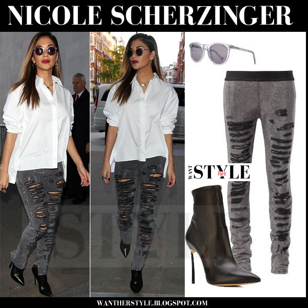 Nicole Scherzinger in white shirt, grey ripped faith connexion skinny jeans and black casadei blade ankle boots what she wore