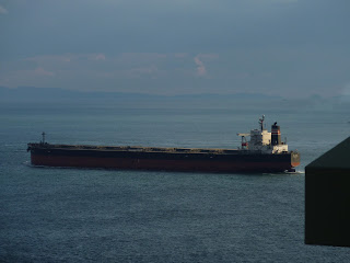 Big oil tanker ship as seen from the maintainance pathway under the Akashi Kaikyo Bridge, Maiko, Kobe