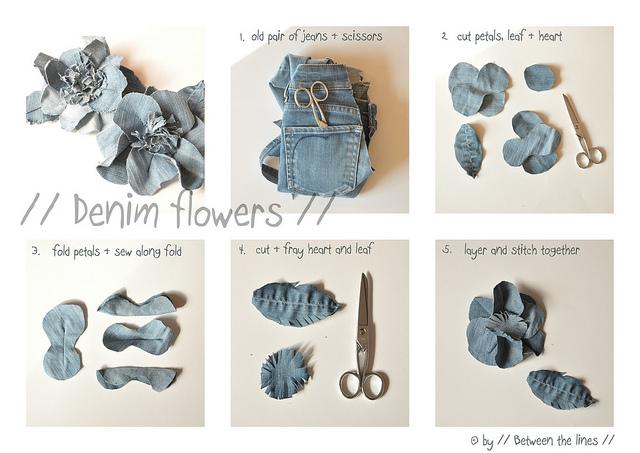 Cómo hacer flores con unos vaqueros viejos en Recicla Inventa