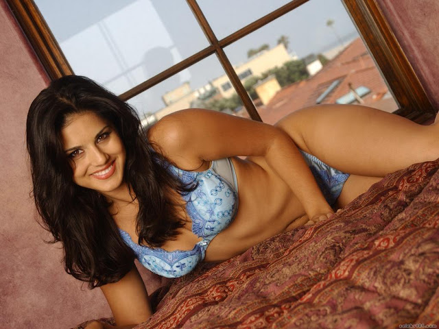 Smiling Sunny Leone in Bra and Panty