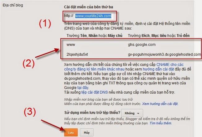 Thiết lập tên miền tùy chỉnh cho blogspot