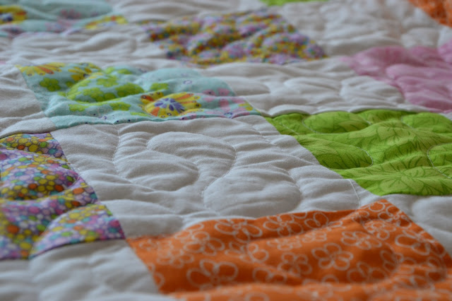 Free Motion Quilting on Baby Girls Quilt