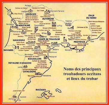 Localizacion dels Trobadors sobre las Mapas d'Occitània e Catalonha