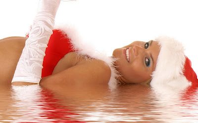 Merry Christmas Santa Girls Wallpapers red beauty