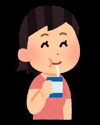 パックの飲物を飲んでいる女の子のイラスト