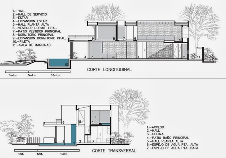 Sections of Modern Agua House by Barrionuevo Sierchuk Arquitectas