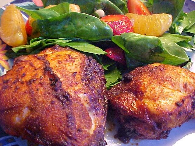 Cuisses de poulet rôties en croûte d'épices et de citron