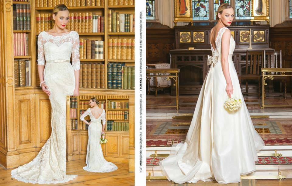 Bridal wear fashion shoot with classic chignon hairstyle and sophisticated makeup for Trend Magazine