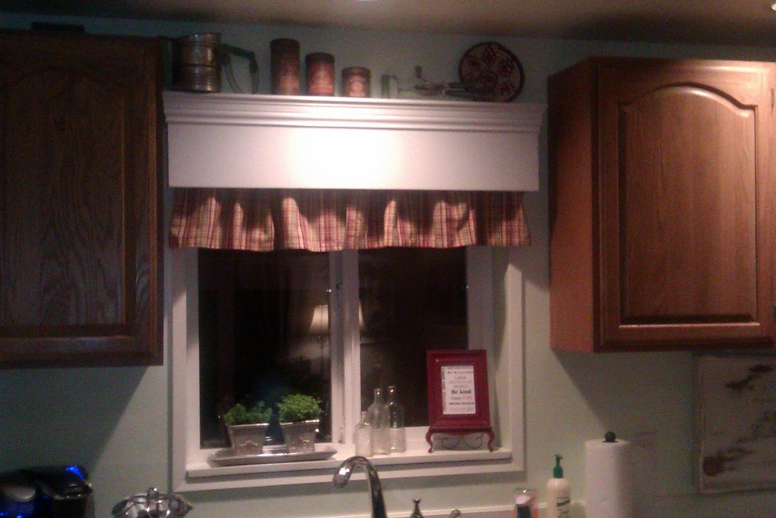 Wood Valance with Window Over Kitchen Cabinets