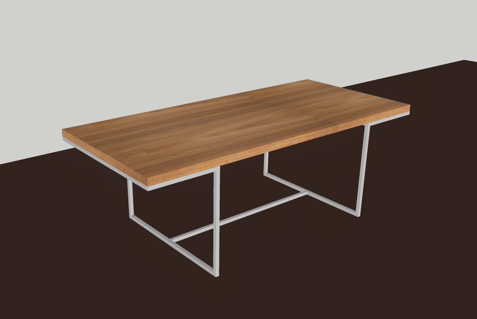 Fukusu Walnut Veneer Dining Table With Shiny Stainless Steel Leg