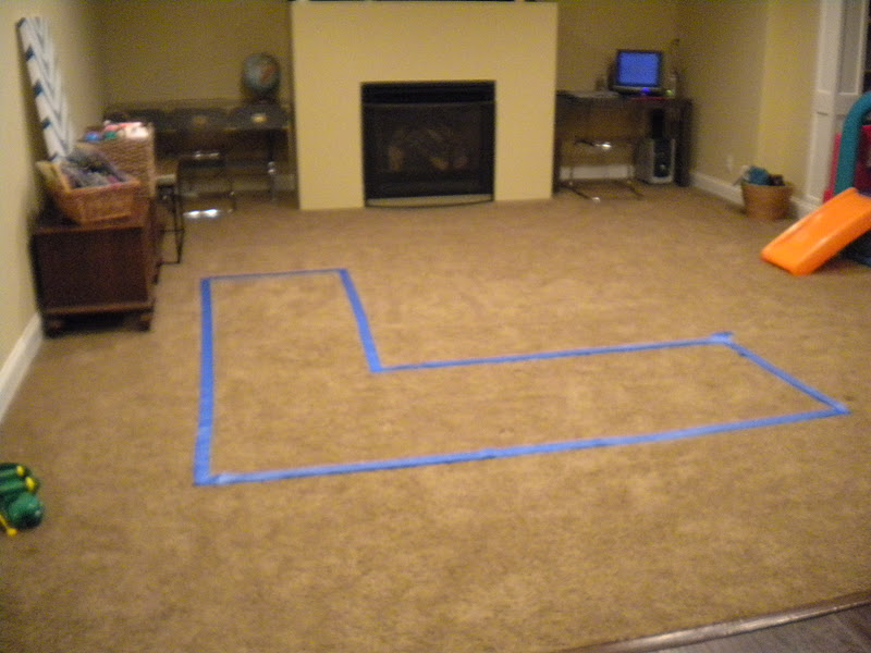 Floor marking for furniture placement.