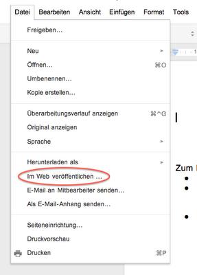 Screenshot der FUnktion Im Web veröffentlichen innerhalb von Google Docs
