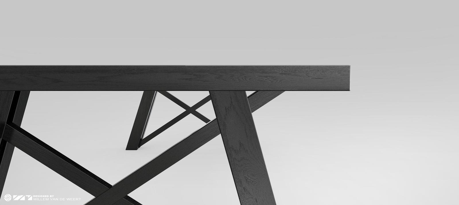 hier een detail van de zwarte Craft design tafel