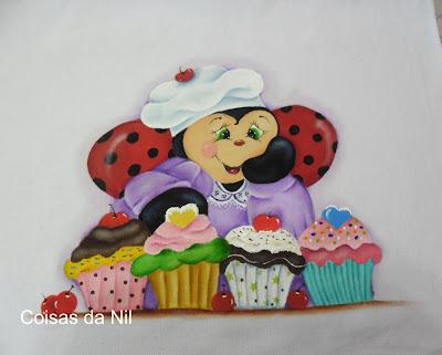 """pano de copa com pintura de joaninha e cupcakes"""