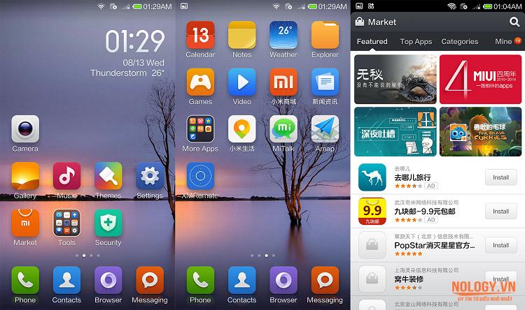 Giao diện màn hình chính của Xiaomi Mi 4