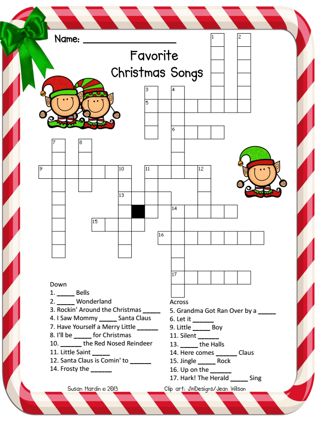 Christmas+Crossword 3rd Grade Grapevine: Another December Freebie ...