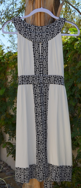 White dress with geometric design