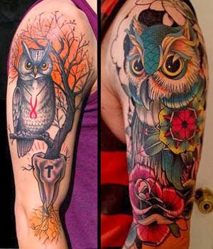 Melhores tatuagens de corujas coloridas no braço