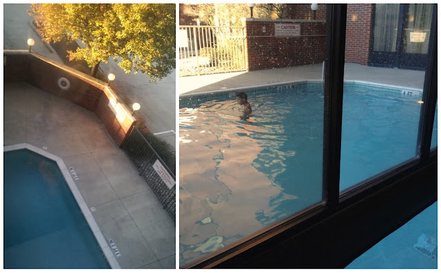 Indoor outdoor pool at Drury Hotel