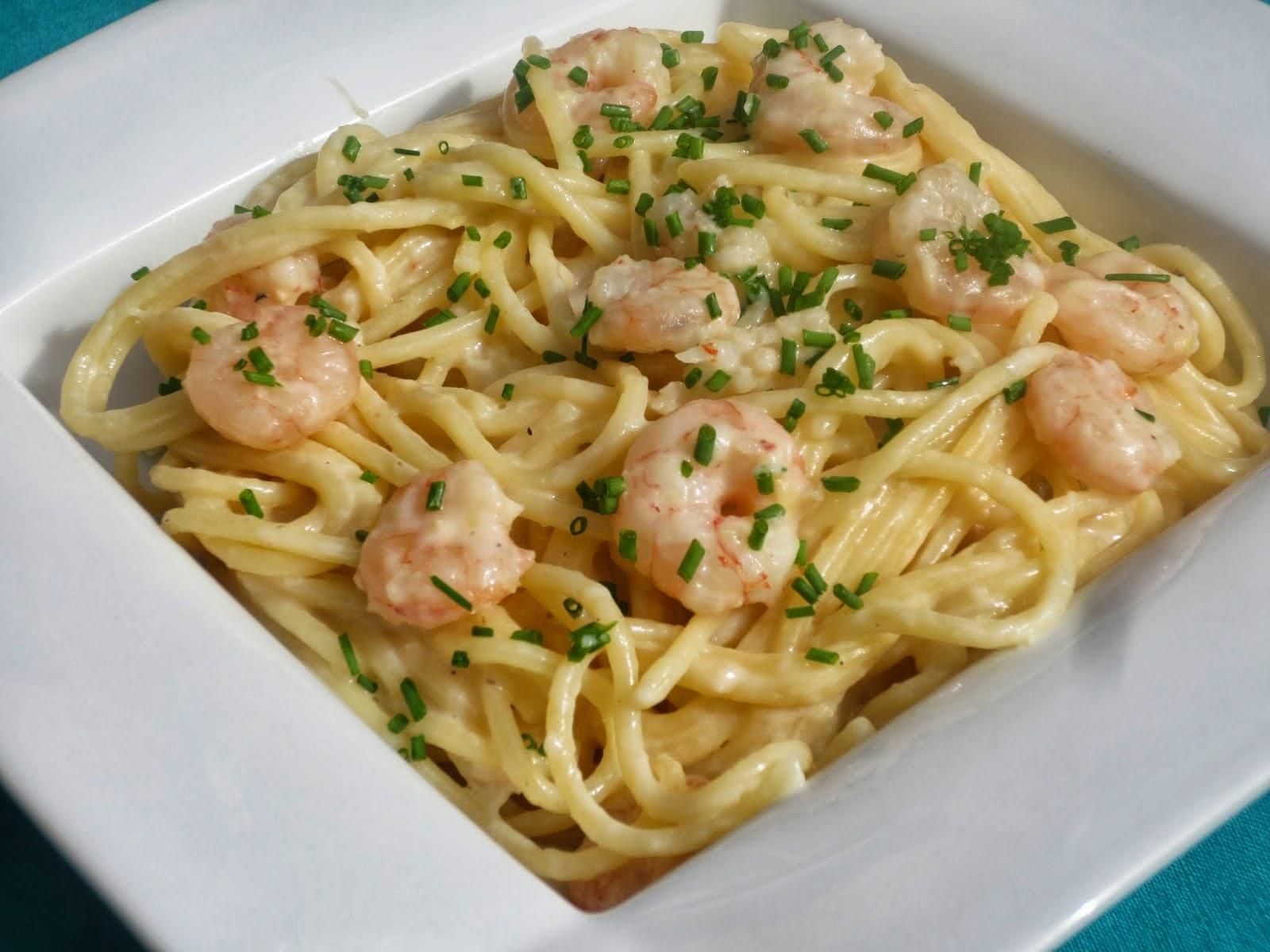 Recetas para dieta - Espaguetis con gambas y champinones ...