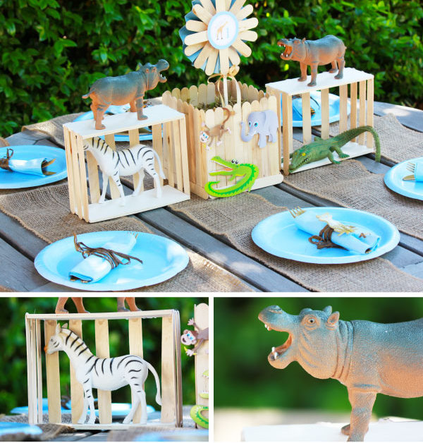 popsicle stick zoo centerpiece party craft