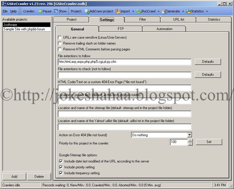 GSiteCrawler_Sitemap_Generator_for_Google_Yahoo!_MSN_Settings