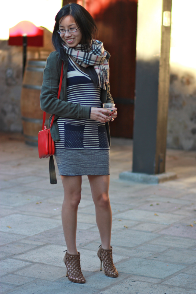 striped dress outfit layering sweater idea