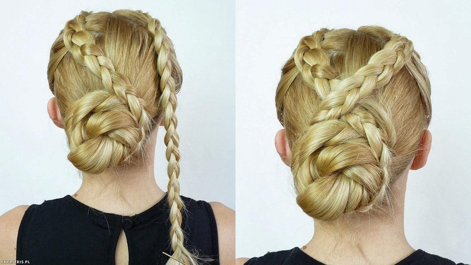 fryzura fryzura kok z dwoma warkoczami - krok 2