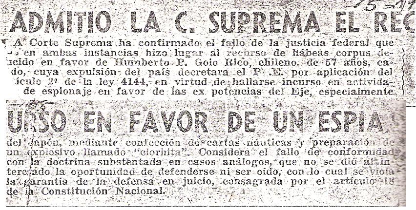 Pie de pagina, del diario NOTICIA GRÁFICA DE BUENOS AIRES , de 1955