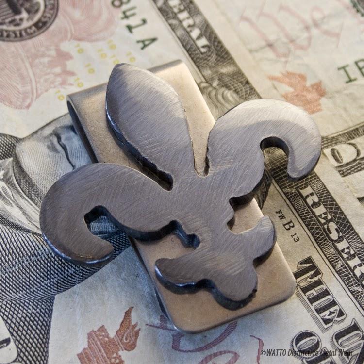 handmade metal fleur de lis money clip