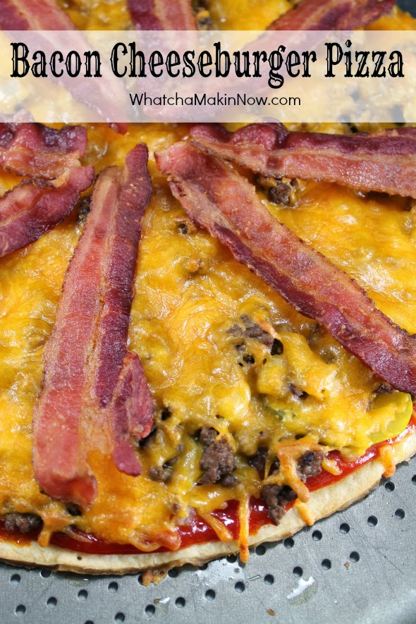 Bacon Cheeseburger Pizza with secret sauce - You have to try this at least once! You'll be hooked!