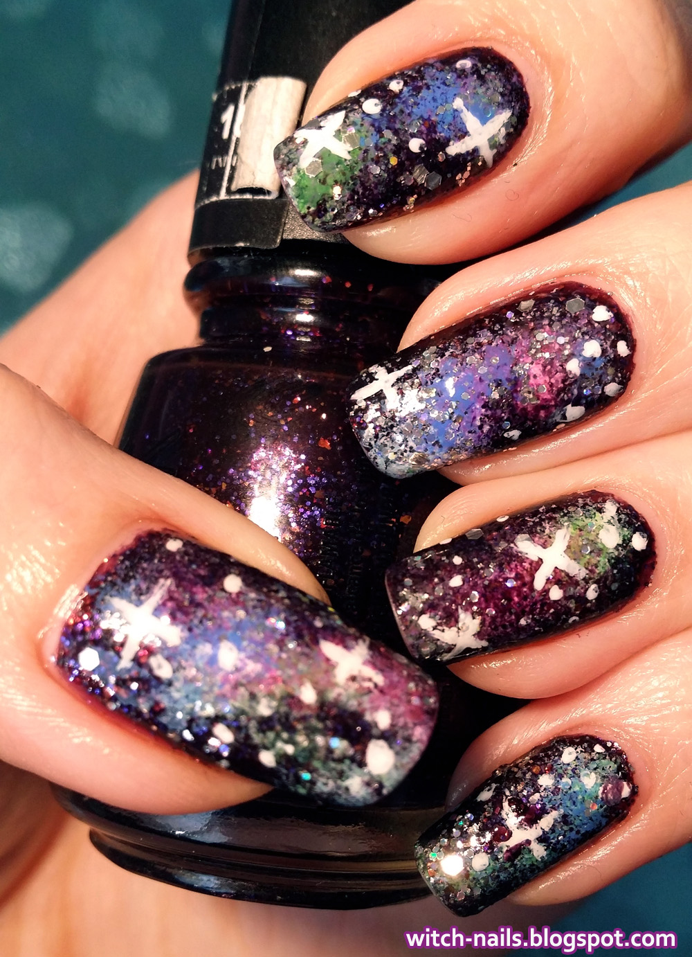 black galaxy nails