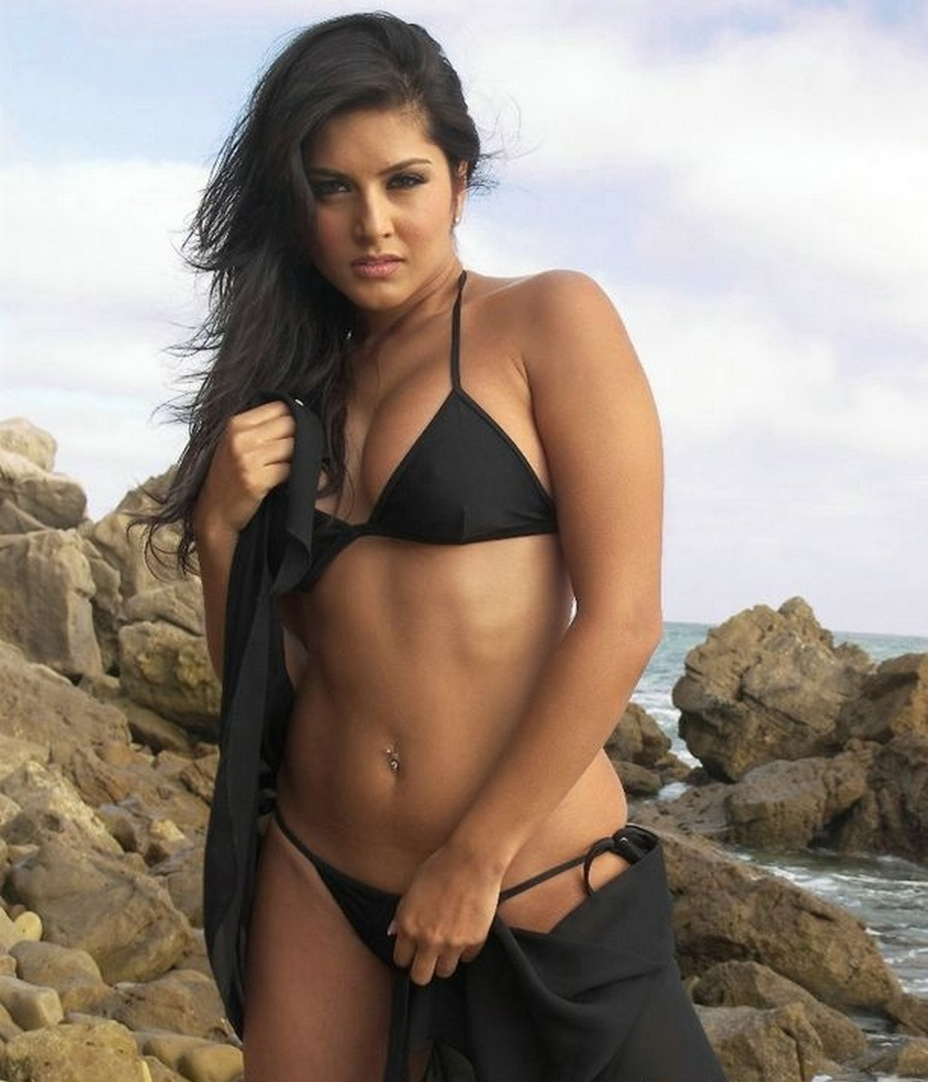 on beach no water mark sunny leone awesome black bikini images sunny ...