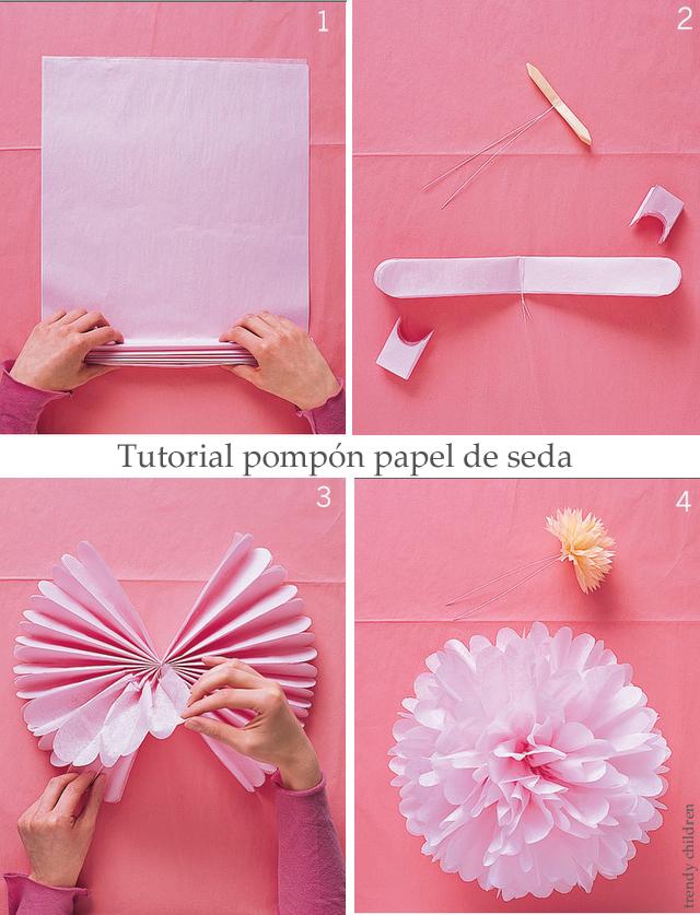 como hacer un pompón de seda