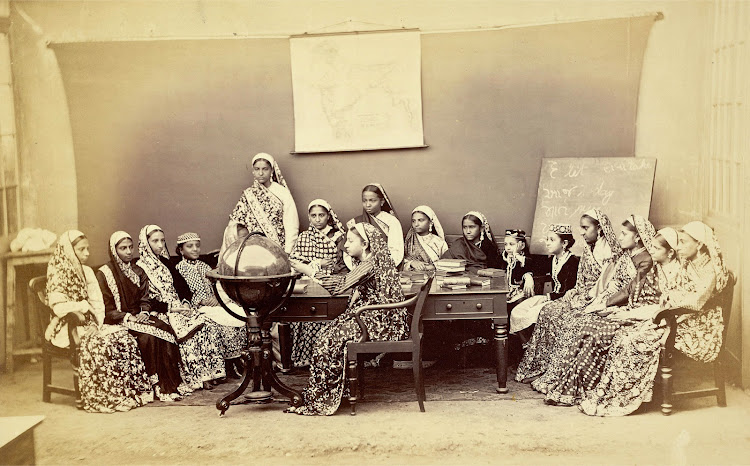 Vintage Photograph of a Class in the Alexandra Native Girls' Institution at Bombay (Mumbai) 1873
