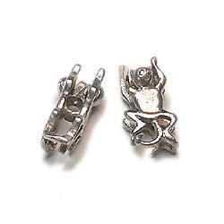 Silver Monkey Animal Beads