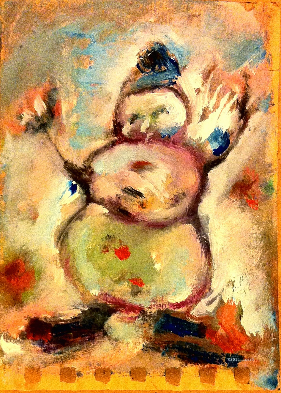 "Skating Snowman on Fire • 5"" x 3"" • oil on paper • ©tsark"