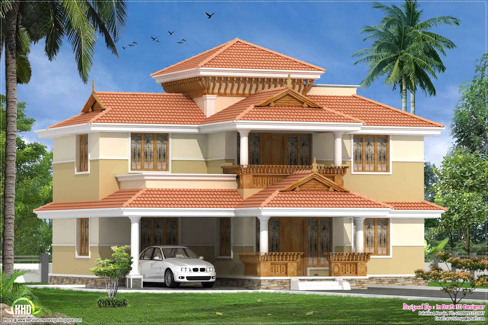 Kerala traditional 4 bed room villa 2060 kerala for Kerala homes photo gallery