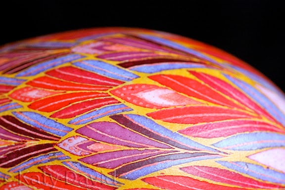 ©Katy David Friday Egg: Phoenix, Goose egg Pysanka