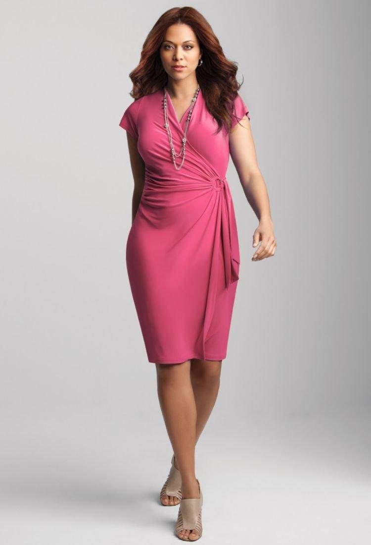 Plus Size Faux Wrap Dresses 5