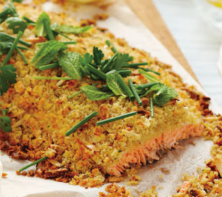 Whole Atlantic Salmon Fillet with Almond Thyme & Lemon Crust Recipe