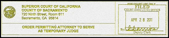 Judge Robert Hight – Judge Bunmi Awoniyi – Judge Steven Gevercer – Judge Tami Bogert – Judge James Mize – Vance Raye - Victoria Henley CJP - Judge Thadd Blizzard -Family Court Sacramento - Chris Volkers Court Executive Officer - Family Court Sacramento – Director of Operations Julie Setzer – Supervising Family Law Facilitator Lollie Roberts – Family Court Manager Colleen McDonagh – Supervising Courtroom Clerk Denise Richards – Supervising Family Law and Probate Judge Jaime R. Roman - Hon. Matthew J. Gary - Sacramento Superior Court-Sacramento Family Court News - Paula Dawn Salinger Temporary Judge - Woodruff, O'Hair, Posner and Salinger - order permitting attorney to serve as temporary judge -