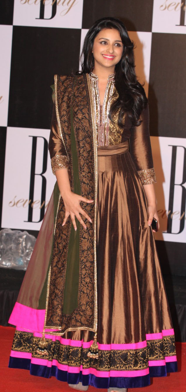 parineeti chopra brown anarkali, Bollywood Anarkali salwar kameez