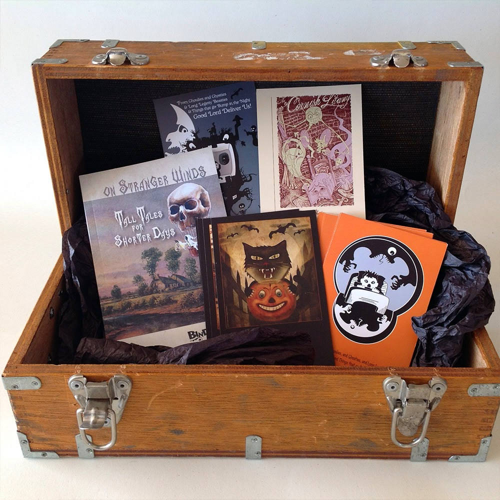 An old crate reveals the spooky works of Bindegrim - a short story book with a number of postcards